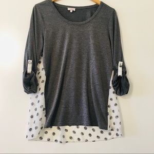 Pixley tunic with sheer polka dot back size M